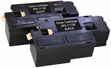 2 Schwarz PREMIUM Toner kompatibel für Dell C1660, C1660W, C1660DW, C1660CN, C1660CNW | 1.250 Seiten - 1