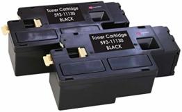 2 Schwarz PREMIUM Toner kompatibel für Dell C1660, C1660W, C1660DW, C1660CN, C1660CNW   1.250 Seiten - 1