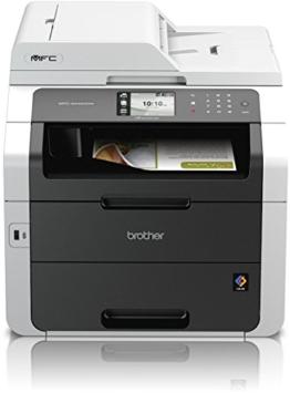 Brother MFC-9342CDW Kompaktes 4-in-1 Farblaser-Multifunktionsgerät (Scanner, Kopierer, Drucker, Fax, Duplex, 2400x600 dpi, USB 2.0, WLAN) weiß/dunkelgrau -
