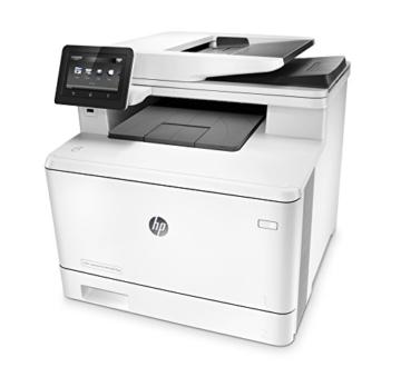HP Color LaserJet Pro M477fdw Farblaserdrucker Multifunktionsgerät (Drucker, Scanner, Kopierer, Fax, WLAN, LAN, ePrint, Airpint, Duplex, NFC, USB, 600 x 600 dpi) weiß -